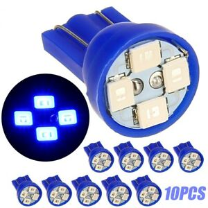 10x Bright Blue LED 168 194 T10 Wedge Dashboard 4 SMD Instrument Panel Bulb P-