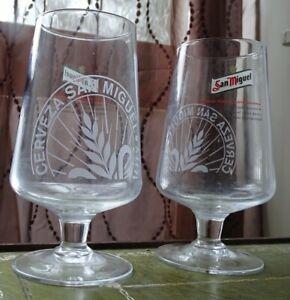 Pair CERVEZA San Miguel Pint Glasses. Vintage.