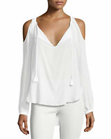 Go By Go Silk Blouse Women Open Cold Shoulder White Size Small