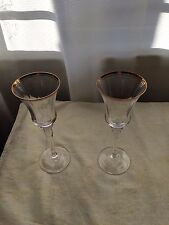 Crystal Wine Glasses Tall Stem fine gold rim and 2nd ring x 2