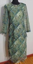 K Petite Women's Petite Print Chiffon Long Sleeve Maxi Occasion Dress 14P NWOT