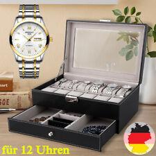 DAMEN Uhrenbox Uhrenkoffer für 12 Uhren Uhrentruhe Uhrenkasten mit Schmuckbox DE