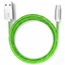 Pawtec Micro USB Charger Cable 3.3ft Nylon Braided Green for Android Samsung Lot