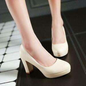 Women's faux Leather Chunky Block Heel  Platform Work Wedding Court Shoes