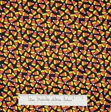 Halloween Fabric - Monsters Candy Corn Toss Black - AE Nathan YARD