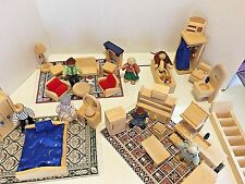 Doll House Furniture Ryans Room 4 Rooms Small World Toys Wooden 7Figures 3Carpet