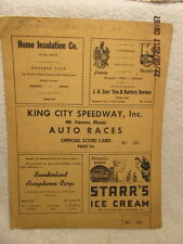 1947 Auto Racing Program King City Speedway Mount Vernon IL Stock Cars Very Rare