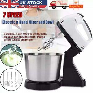 7 Speed Cake Electric Stand Mixer Food Multi Mixing Bowl Blender Beater Dough UK