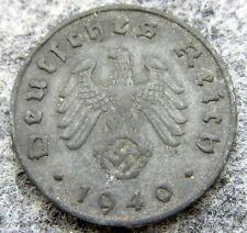 GERMANY THIRD REICH 1940 J 10 REICHSPFENNIG SWASTIKA, ZINC