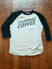 Sports Tek Starbucks Coffee baseball t shirt size medium grey and black