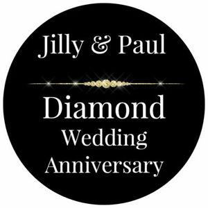 DIAMOND WEDDING ANNIVERSARY GLOSS PERSONALISED FAVOUR THANK YOU PARTY STICKERS