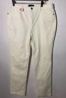 TALBOTS Size 12 Simply Flattering 5 Pocket Corduroy Trousers Pants White