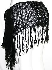 Black Emo Tribal Goth Bohemian Boho Hippie Belly Dance Dancing Fringe Hip Scarf