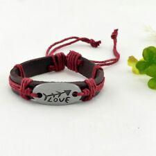 Genuine Leather LOVE & Arrows Adjustable  Bracelet Brown & Red Rope