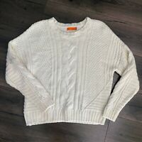 ONE A Women's Chunky Cable Knit Sweater Pullover Size Large NEW Off White