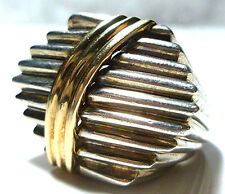 ABSTRACT MODERN MODERNIST STERLING SILVER 14K GOLD SIGNED TIER RING BAND X-LARGE