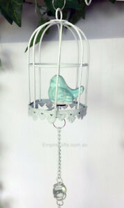 1 x Blue Bird in Birdcage Hanging Mobile Heart Wind Chime