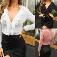 Women PLUS SIZE Ruffle V Neck Long Sleeve Top Ladies Polka Dot Shirt Club Blouse