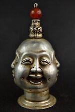 Chinois ancien Argent CUIVRE HANDWORK carving 4 Visage Bouddha TABATIERE