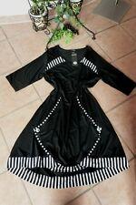 AKH FASHION Kleid 48 50 EG NEU schwarz weiß Stretch viele Details LAGENLOOK