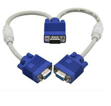 1 PC to 2 Way VGA SVGA Monitor Y Splitter Cable Lead 15Pin Male Female TFT LCD