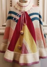 Vintage Anthropologie Color block Poncho Sleeping On Snow OS Rare
