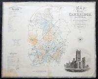 1834 C & J Greenwood Large Original Antique Map of English County of Cambridge