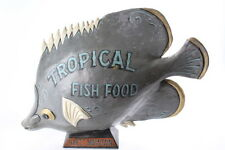 Vintage Hartz Mountain Tropical Fish Food Papier Mache Folk Art Advertising Sign