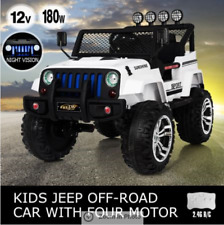 Electric Ride on Jeep Remote Control Off Road Kids Car w/Built-in Songs - White