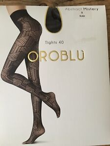 bnip OROBLU ABSTRACT MISTERY TIGHTS Size SMALL BLACK 40 Denier MADE IN ITALY