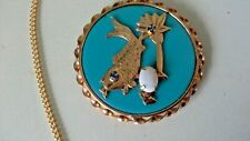 "Oriental / Chinese Pendant Necklace 19"" Gold Tone Chain Koi Fish Scene Blue"