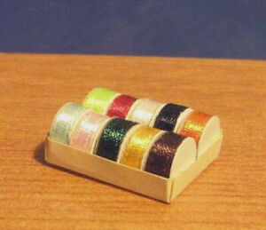 1/12 dolls house miniature Ribbons reels in Box craft sewing room craft BN LGW