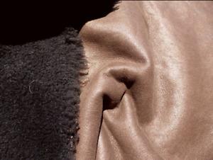 sheepskin shearling leather hide Curly Hair Dark Brown w/Coffee smooth back