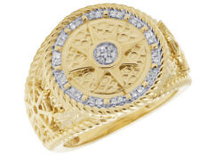 Mens 10K Yellow Gold Round Nautical Pirate Compass Real Diamond Pinky Ring 1/5CT