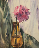 VINTAGE IMPRESSIONIST WATERCOLOR PAINTING STILL LIFE WITH FLOWER
