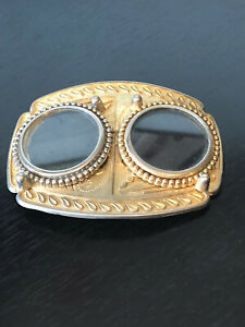 Vintage Double Space Belt Buckle For Your Coins Large Gold Tone Design