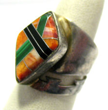 VERY WIDE ONYX MALACHITE ORANGE AGATE RING SIZE 6.5   8.6 GRAMS