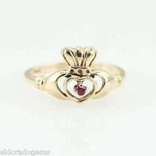 IRISH CLADDAGH HANDMADE LOVE RING 0.10 CT. RUBY 14K YELLOW GOLD BAND SIZE US6.25