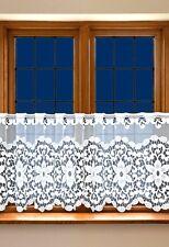 "White Cafe Net Curtain Lace  20"" drop Price Per Metre Interior Decor"