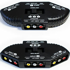 3 port/way 3 Rca Manual Av Switch Box – compuesto para video Phono distribución Dvd