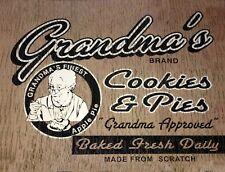 "TIN SIGN ""Grandma's Cookies- Pies"" Food  Signs  Rustic Wall Decor"