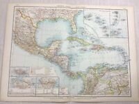 1899 Antique Map of Jamaica The Caribbean Bahamas Antilles Old 19th Century