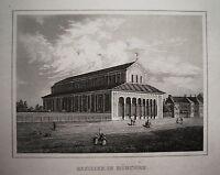 München Bayern Basilika seltener echter alter  Stahlstich 1842