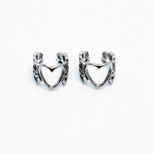 2pcs Stainless Steel Love Hearts Ear Cuff Clip Non-Piercing Stud Earrings