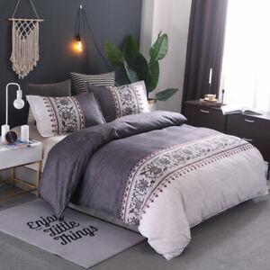 Grey Floral Quilt Doona Duvet Cover Set King Size Bedding Linen Pillowcase New