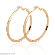 HX 1Pair 18k Gold Plated 0.8mm Earring Hoops 4.1cm x3.9cm