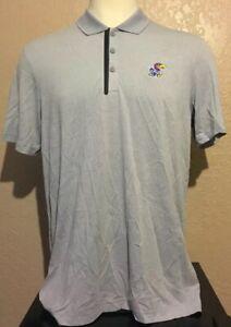 Adidas Golf Mens Size Large Gray Wool Blend Kansas Jayhawks Polo Shirt L Stretch