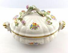 #e5214 Meissen Schale mit Blumen Dekor Beamtenporzellan, 4. Wahl, Fehlware