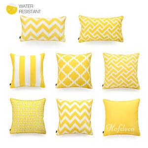 Hofdeco Cushion Cover INDOOR OUTDOOR WATER RESISTANT Yellow Nordic Geometric