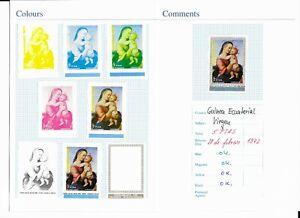 EQUATOR.GUINEA*1972* Stamp & 8 Trial Color Proofs IMPERFECT* Christmas -Mi.No39